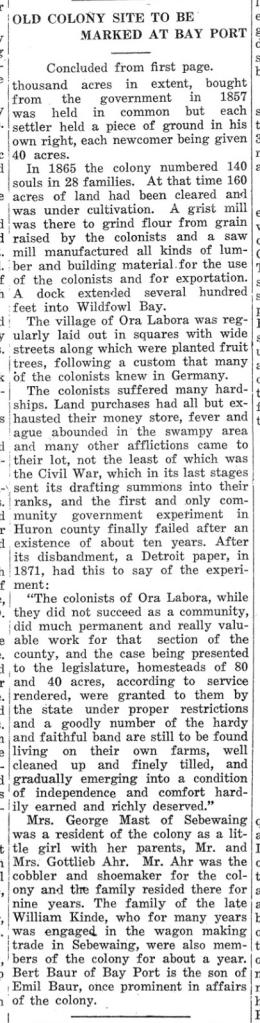 Ora Labora - Cass City Chronicle 1931